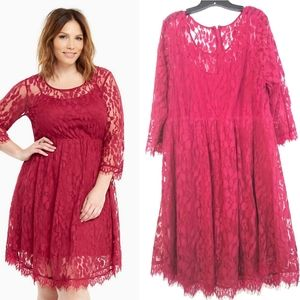 24 Torrid Wine Lace Overlay Skater Dress